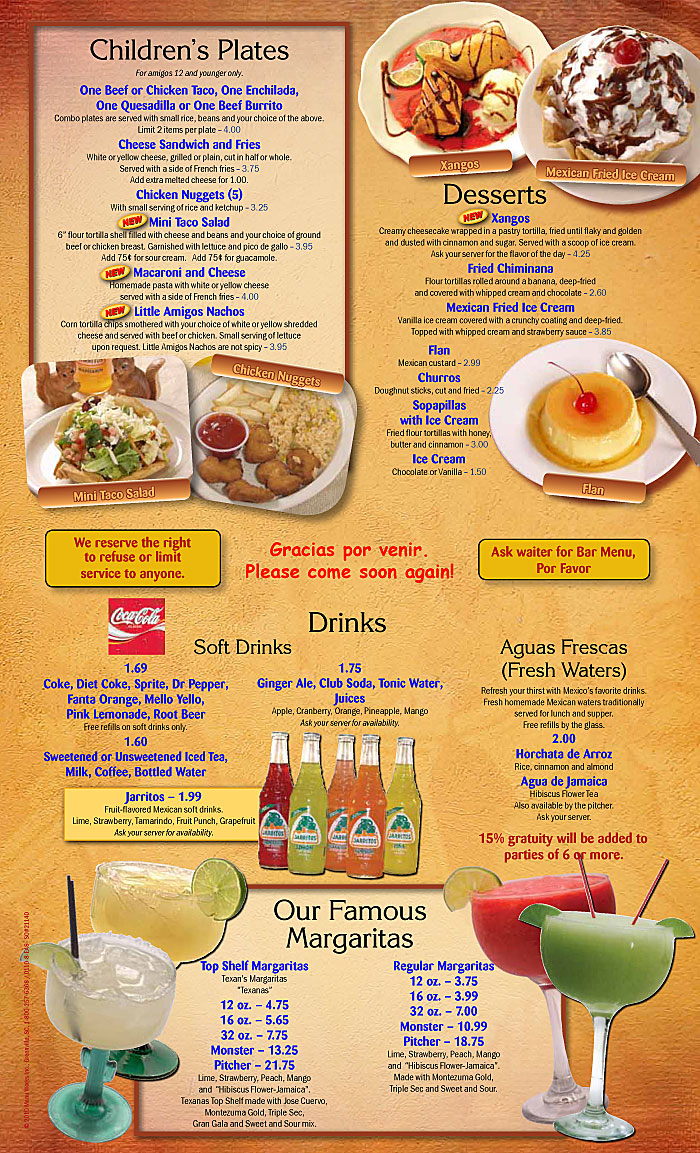 Mexican Restaurant Menu Drinks